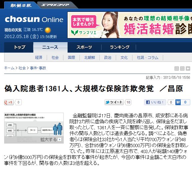 韓国でニセ入院患者1361人の保険詐欺