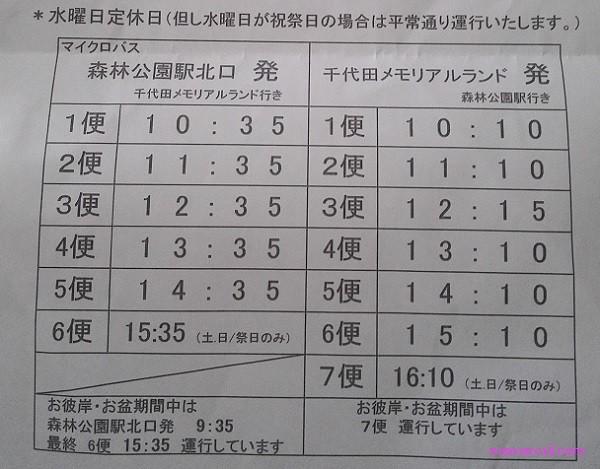 千代田メモリアルランド(森林公園)バスの時刻表