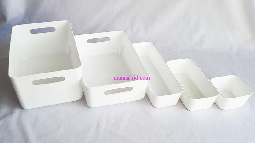 100均セリア白収納ボックス「ソフトライナ」のサイズ。無印やわらかポリエチレンケース似